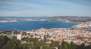 Aerial view of historic city center and harbor of Sete, France. Sete, France - January 4, 2019: Aerial view of historic city center and harbor a winter day stock photography