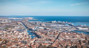 Aerial view of historic city center and harbor of Sete, France. Sete, France - January 4, 2019: Aerial view of historic city center and harbor a winter day royalty free stock image