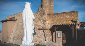 Chapel of La Salette on the heights of Sete, France. Sete, France - January 4, 2019: Architecture detail of the chapel of La Salette on the heights of the city royalty free stock photos