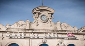 Architecture detail of the SNCF train station of Sete, France. Sete, France - January 4, 2019: Architecture detail of the SNCF train station in the city center royalty free stock image
