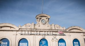 Architecture detail of the SNCF train station of Sete, France. Sete, France - January 4, 2019: Architecture detail of the SNCF train station in the city center royalty free stock photo