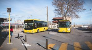 Bus parked near the bus station waiting for passenger in Sete stock photography