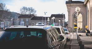 Taxi line in front of the train station of Sete, France. Sete, France - January 4, 2019: Taxi line in front of the train station in the city center on a winter royalty free stock photography