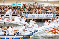 Water jousting in Sete town. SETE, FRANCE - July 30, 2017: Water jousting competition which lasted in Sete on the south of France. Jousting is a fight on the Stock Images