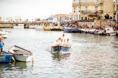 Water jousting in Sete town. SETE, FRANCE - July 30, 2017: Water jousting competition which lasted in Sete on the south of France. Jousting is a fight on the Royalty Free Stock Photography