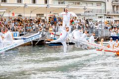 Water jousting in Sete town. SETE, FRANCE - July 30, 2017: Water jousting competition which lasted in Sete on the south of France. Jousting is a fight on the Royalty Free Stock Photo