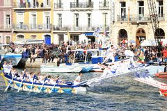 Water Jousting performance in Sète, Languedoc-Roussillon, south. SETE, FRANCE - March 26, 2016: Water Jousting performance during Stopover in Sète stock photos