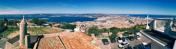 Sete, France. Panoramic View at Sete from the Mount of St. Clair, south of France stock photography