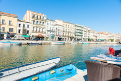 Sete, France, Royal Canal boats and surrounding buildings. Royalty Free Stock Image