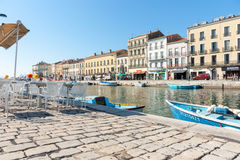 Sete, France, Royal Canal boats and surrounding buildings. Stock Image
