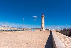 SETE, FRANCE - SEPTEMBER 10, 2017: Stunning harbour of Sete with lighthouse in the south of France near the Mediterranean. Copy sp Royalty Free Stock Photos