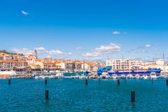 SETE, FRANCE - SEPTEMBER 10, 2017: View of the harbor with yachts. Copy space for text. Stock Photos