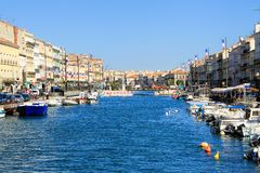 Sete, France. September, 03, 2014 Royal chanel in Sete - fascinating small town on the French Mediterranean coast known as the Venice of Languedoc stock photography