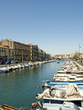 Sete Harbor. On a sunny day in Southern France stock images