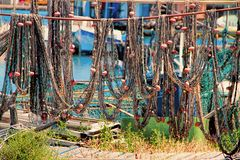 Sete, Herault, France : La Pointe Courte - A Fishermen's district. Sete, Herault, France : Fishing nets in La Pointe Courte: A Fishermen's district royalty free stock image