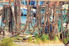 Sete, Herault, France : La Pointe Courte - A Fishermen's district. Sete, Herault, France : Fishing nets in  La Pointe Courte: A Fishermen's stock photography