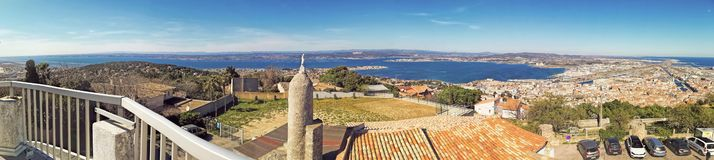Sete, Herault, France. Panoramic View at Sete from the Mount of St. Clair, south of France stock photos