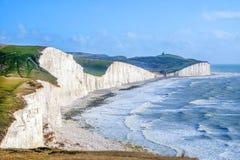 Sete irmãs riscam penhascos, East Sussex, Reino Unido imagens de stock royalty free