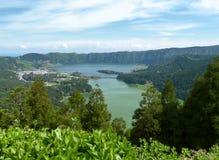 Sete Lagoa DAS cidades am Sao Miguel Island Stockbild