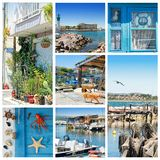 Sete, Languedoc-Roussillon, south of France. Sete, Herault, France : Photo collage of  A Fishermen's district village called La Pointe Courte.You only royalty free stock photo
