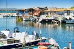 Sete, Languedoc-Roussillon, south of France. SETE, FRANCE - July 15, 2016: A Fishermen's district village of Sète called La Pointe Courte royalty free stock photos