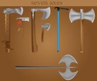Sete machados Fotografia de Stock