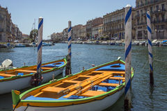 Sete - South of France. The Canal Royal in the coastal town of Sete in the Languedoc-Roussillon region of the South of France. Sete is a port and a sea-side royalty free stock photography