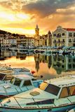 Sete on sundown. Sete - fascinating small town on the French Mediterranean coast known as the Venice of Languedoc, on sundown stock photo