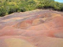Sete terras coloridas em Chamarel, ilha de Maurícias Fotos de Stock Royalty Free