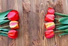Sete tulipas em um fundo de madeira natural Fotos de Stock