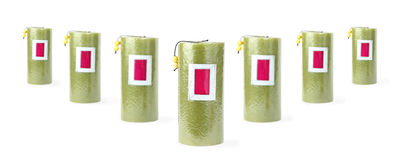 Sete velas verdes Fotografia de Stock