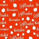 setembro, teste padrão dos outubro e novembro Teste padrão da rotulação do outono fotos de stock royalty free