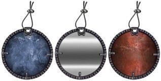 Seten av Grunge rund metall Tags - 3 objekt Arkivbild
