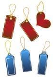 Seten av hängande färg shoppar etiketter Arkivbild
