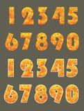 Seten av numret brände med etikettsstil Royaltyfria Bilder