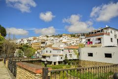 Setenil de las Bodegas, Andalusian village of Cadiz, Spain stock images