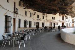 Setenil de las Bodegas under the cliff Stock Photography