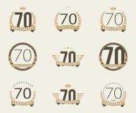 Setenta años del aniversario de logotipo de la celebración 70.a colección del logotipo del aniversario Imagenes de archivo