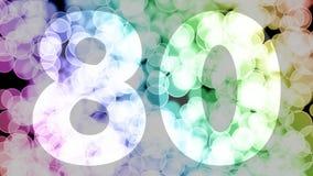 Setenta y nueve a ochenta años de cumpleaños se descoloran la animación de in/out con el fondo de mudanza del bokeh de la pendien ilustración del vector