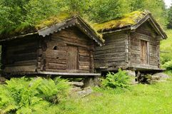 Setesdal two huts Stock Photography