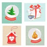 Seth του ντεκόρ Χριστουγέννων τέσσερις-κομματιού Σφαίρες χιονιού Χριστουγέννων, μια επιστολή σε Άγιο Βασίλη, ένα σπίτι μελοψωμάτω διανυσματική απεικόνιση