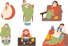Seth av sjukt folk Behandlingar, vid värme, inandning och värme av benen Rinnande näsa för tecken, feber, huvudvärk royaltyfri illustrationer