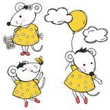 Seth avec les souris drôles mignonnes Illustration de vecteur dans le style de croquis images libres de droits