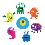 Seth bright funny cute monsters Stock Image