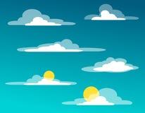 Seth chmury w stylu mieszkania z słońcem bez słońca i ilustracji