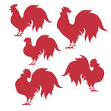 Seth cock silhouettes , for Chinese New Year. Vector Stock Photography