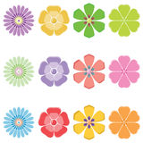 Seth colorful flowers. Vector illustration Royalty Free Stock Photography