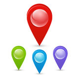 Seth colorful map pointers. Map pointers 3d icons. Vector image isolated on a white background. Stock Image