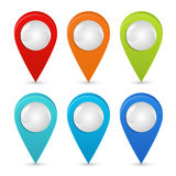 Seth colorful map pointers. Map pointers 3d icons. Vector image isolated on a white background. Stock Photography