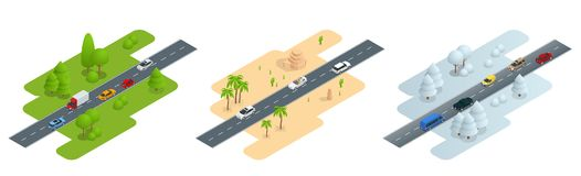 Seth consisting of three isometric pictures Road in summer, road in the desert  Stock Photography